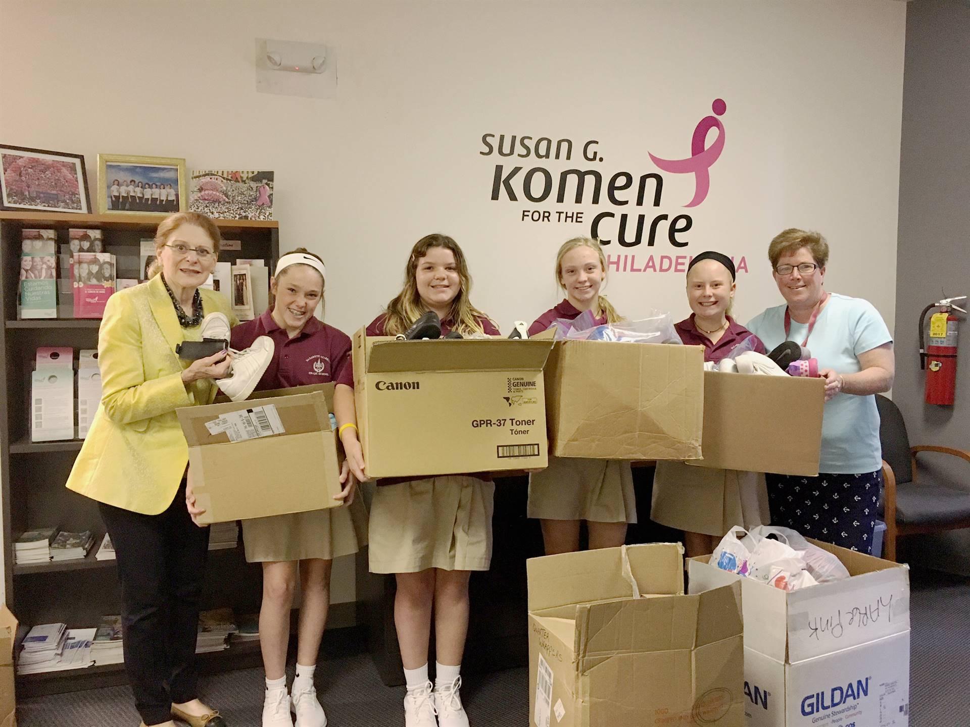 Sneaker donation for Hurricane Harvey victims at Susan G. Komen Phila