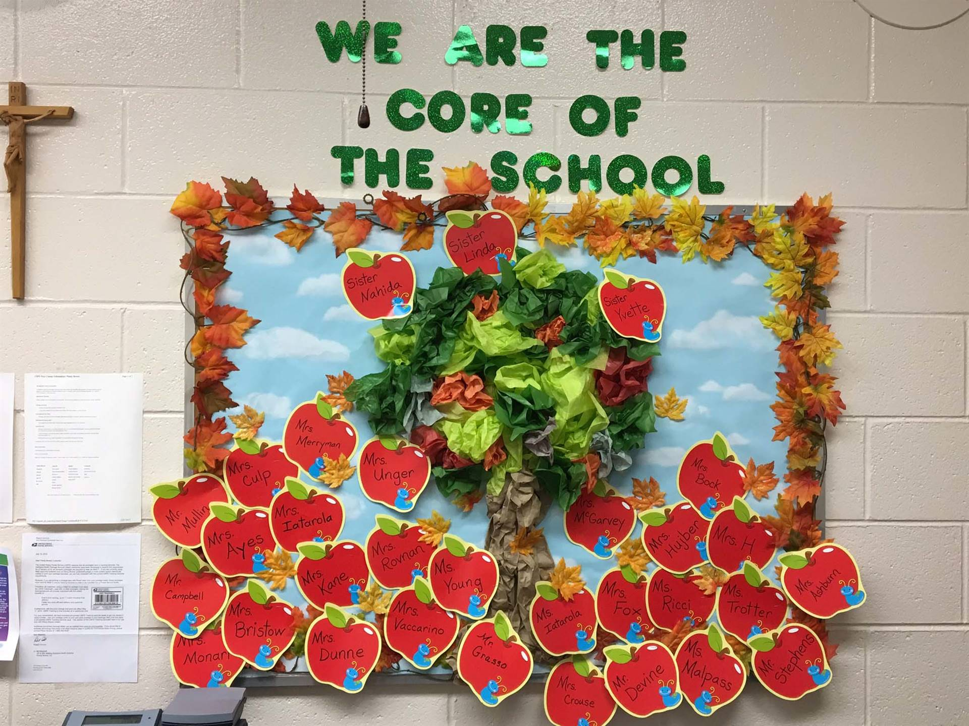 Main Office Bulletin Board with apples