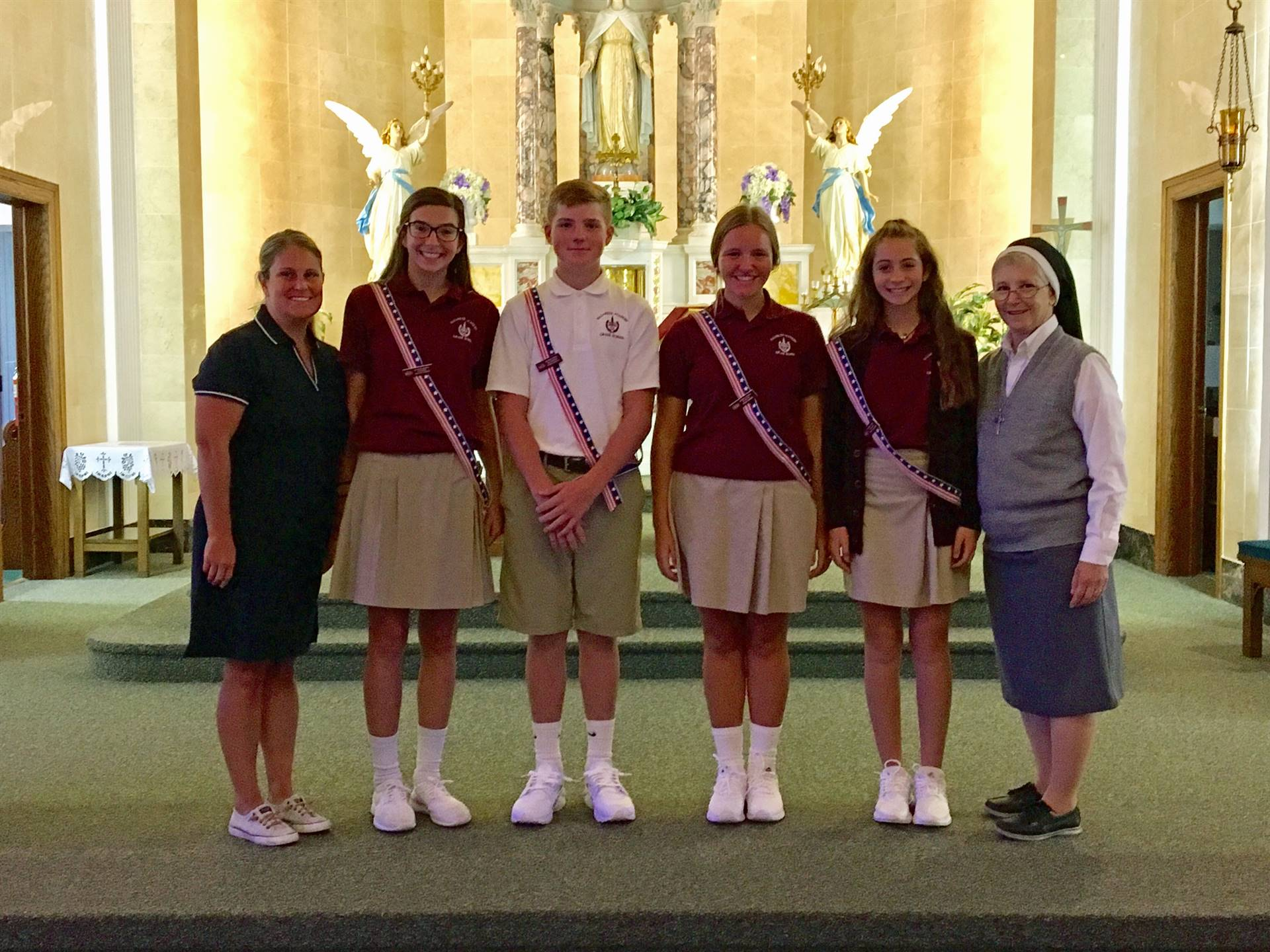 Student Council officers, Moderator Mrs. Fox and Principal Sister Linda