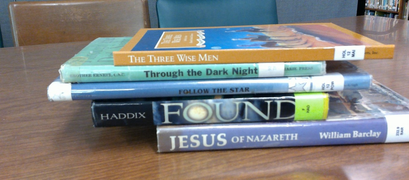 Book spine poetry for Christmas