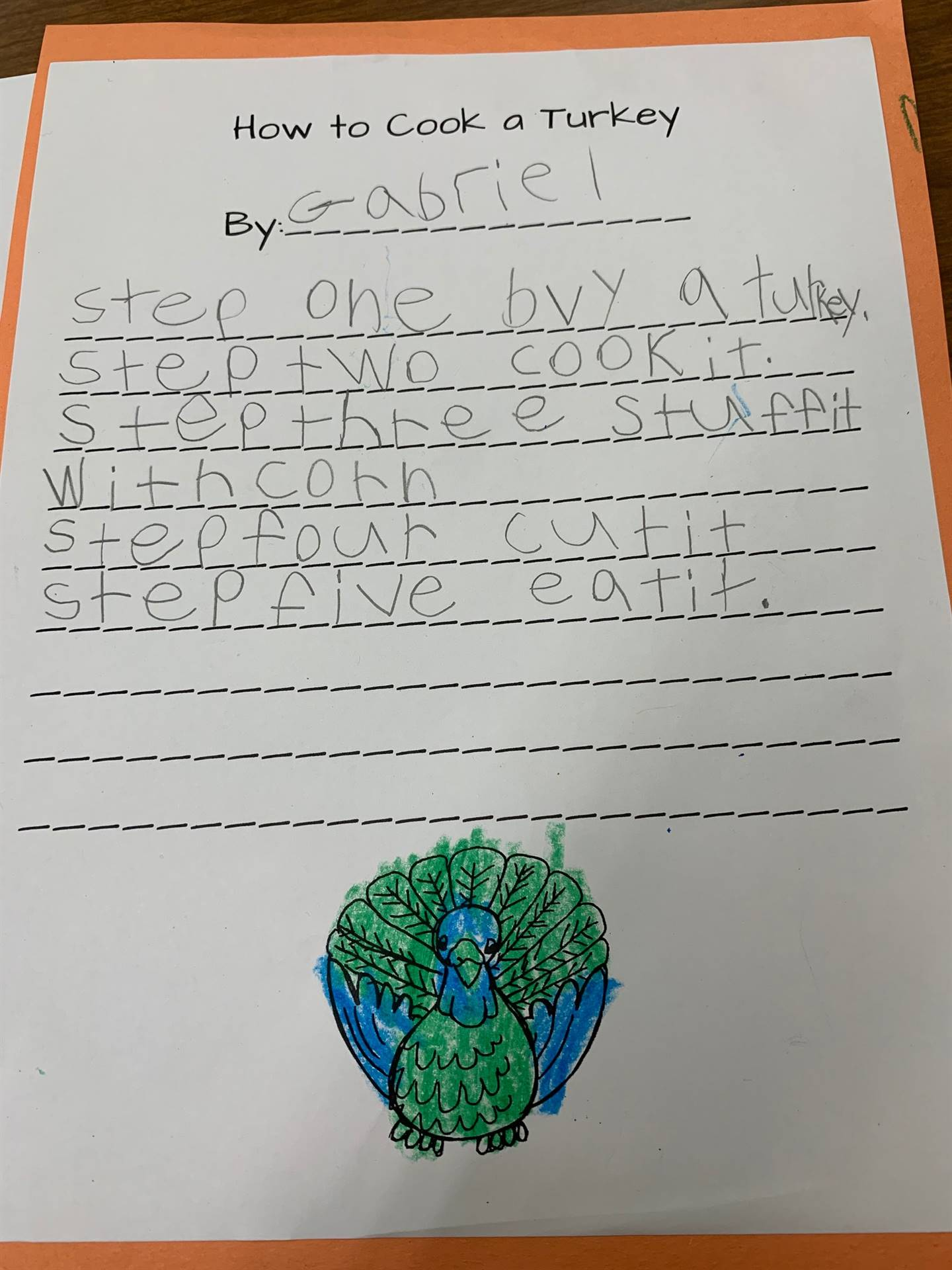 """1st Grade Students Describe """"How to Cook a Turkey"""" to their 8th Grade Buddies."""