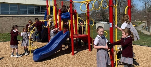 First graders on playground
